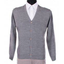 Rozpinany sweter kardigan Lidos 1004 szary na guziki M L XL 2XL 3XL