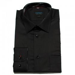 Koszula czarna gładka Comen długi rękaw slim roz. 39 40 41 42 43 44