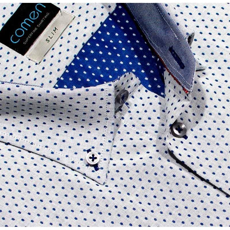 Comen koszula kr slim szara w kropki