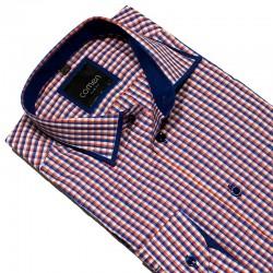 Koszula w drobną kratkę Comen slim czerwono-niebieska roz. 39 40 42