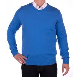 Błękitny sweter Jordi J-832 w serek roz. M L XL 2XL
