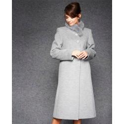 płaszcz angora z lisem Dziekański Ludmiła 100 popiel diagonal