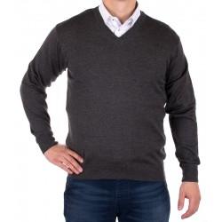 Sweter w szpic Kings 100*S-402 4006 ciemno-szary r. M L XL 2XL