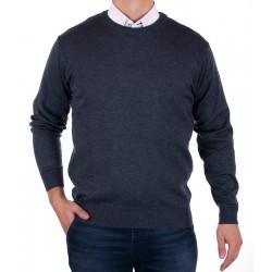 Jeansowy sweter Kings 100*S-401 4007 pod szyje, u-neck r. M L XL 2XL