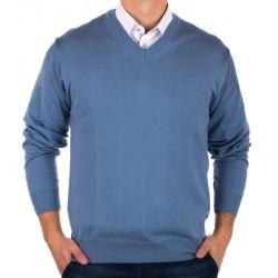 Siwo-niebieski pulower Kings 100*S-402 4006 w szpic rozmiar L 2XL