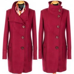 płaszcz damski zimowy HUNA Roksana bordo rozmiar 46