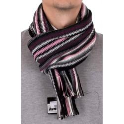 Męski szalik akrylowy w fioletowo-szare paski Kings 84A*8340