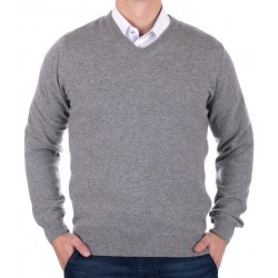 Sweter z wełny merynosowej w szpic Tris Line 1800V popielaty XL 3XL