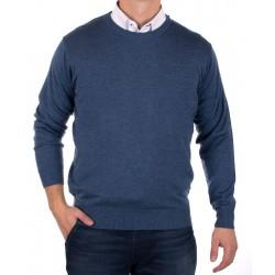 Sweter Kings 100*S-401 4007 u-neck kol. niebiesko-jeansowy M L XL 2XL