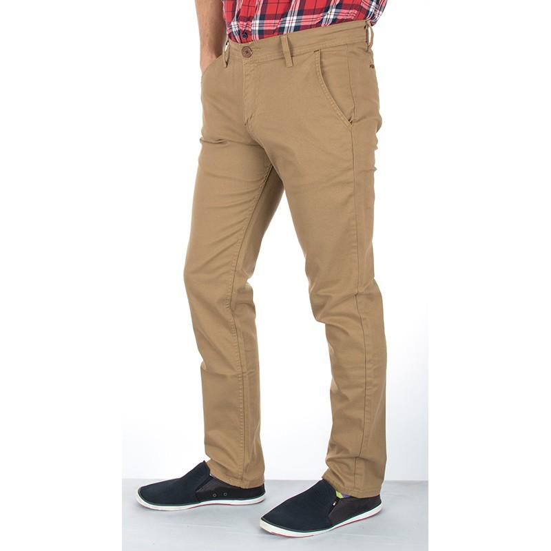Spodnie chinos Italy Camel Bridle karmelowe