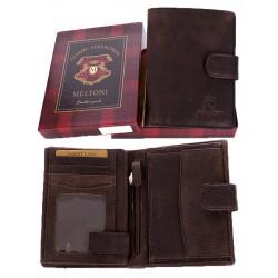 Brązowy portfel Meltoni B4115/A HK naturalna skóra, w pudełku
