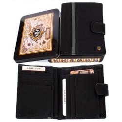 Męski portfel Meltoni L611/A z naturalnej skóry w kolorze czarnym