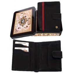 Skórzany portfel męski Meltoni L613/A czarny z czerwoną lamówką