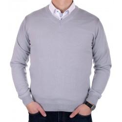 Popielato-szary sweter Lidos w serek rozmiary M, L, XL, 2XL, 3XL