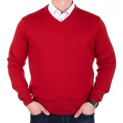 Czerwony sweter Lidos 1003 - v-neck rozmiary M, L, XL, 2XL