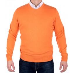 Pomarańczowy sweter Jordi J-832 w serek roz. L, XL