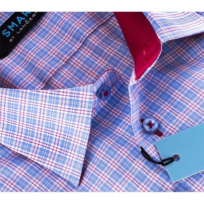Koszula w niebieską kratkę Comen slim