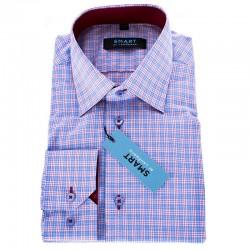 Niebieska koszula z długim rękawem Comen slim w kratkę roz. 39 40 45