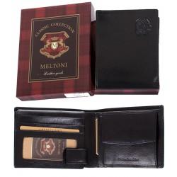 Skórzany portfel męski Meltoni B415 w kolorze czarnym w pudełku