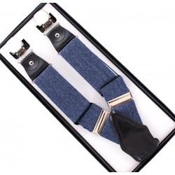 Szelki męskie Anko w kolorze jeansu - skórzane dodatki