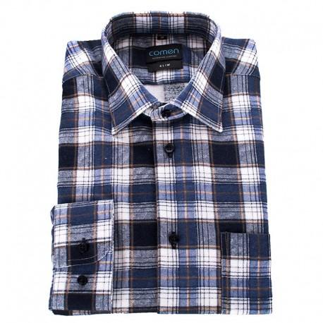 Flanelowa koszula Comen w niebieską kratkę 39 40 41 42 43 44  UFV0y