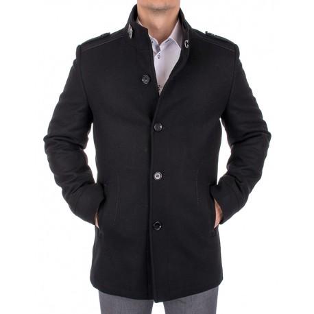 Wełniany płaszcz Lansier Cezar czarny