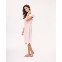 sukienka do kolan Feria FB247-3-11 blady róż rozmiar 38 40 42 44 46 48