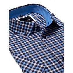 Koszula krótki rękaw Comen slim granatowa krateczka 39 40 41 42 43 44
