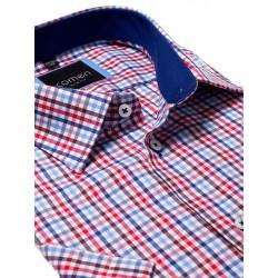 Koszula krótki rękaw Comen niebiesko-czerwona kratka 39 40 41 42 43 44