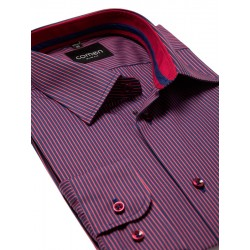 koszula Comen w prążki bordowa