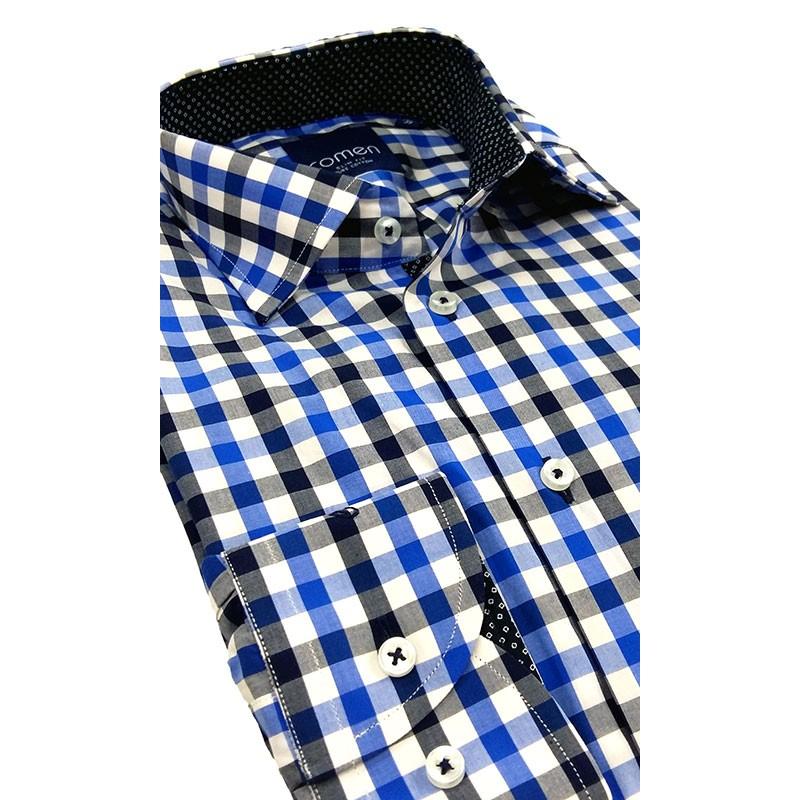 koszula Comen dł. rękaw niebieska kratka