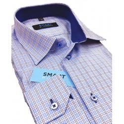 Koszula z długim rękawem Comen slim w niebieską kratkę rozmiar 39 40