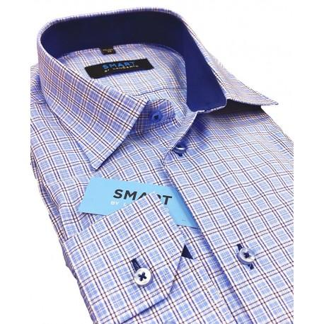 koszula Comen z dł. rękawem niebieska kratka slim