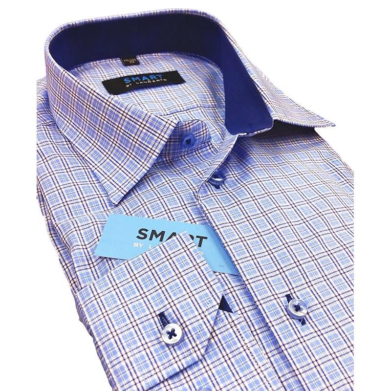 koszula Lancerto niebieska kratka slim
