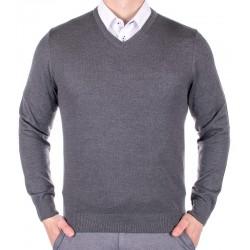Szary sweter w szpic Lanieri 10-101-11 kolor 213 roz. M L XL 2XL 3XL