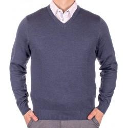 Sweter Lanieri v-neck 10-101-11 kol 248 niebieski jeans M L XL 2XL 3XL