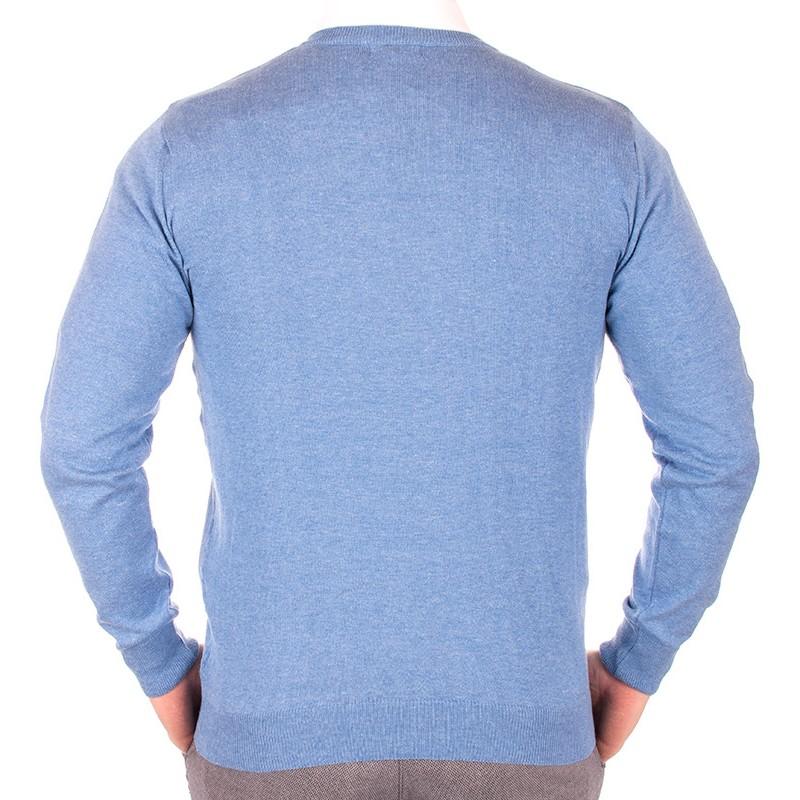 Błękitny sweter Lidos 1203 w szpic