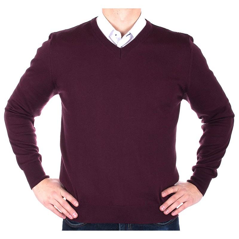 Sweter w szpic Lidos 1203 śliwkowy