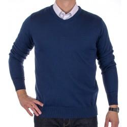 Sweter Jordi J-832 gładki, granatowy, serek roz. M, L, XL, 2XL, 3XL