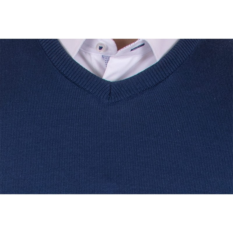 sweter w szpic Jordi v-neck granatowy J-832
