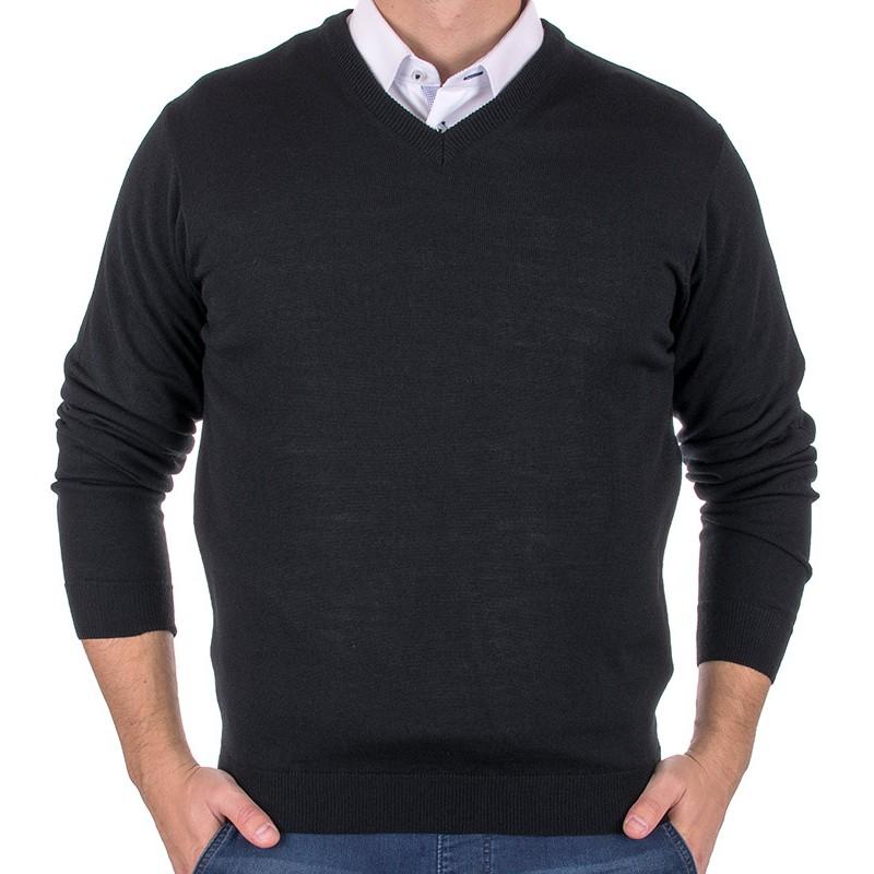sweter Jordi w szpic J-832 czarny