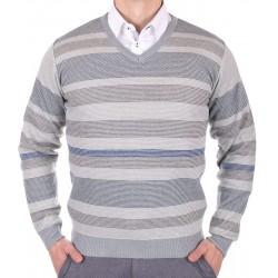 Szary sweter męski w szpic Kings Elkjaer w paski 26507 M L XL 2XL 3XL
