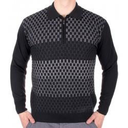 Szaro-czarny sweter wełniany Kings 25281 Elkjaer zamek M L XL 2XL