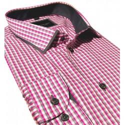 Koszula długi rękaw Comen slim różowa kratka roz. 39 40 41 42 43 44
