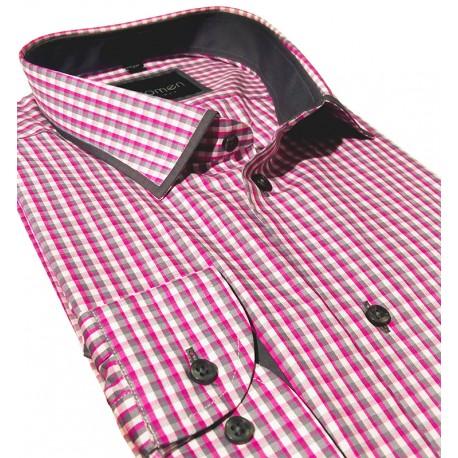 Koszula Comen slim kratka różowo-szara
