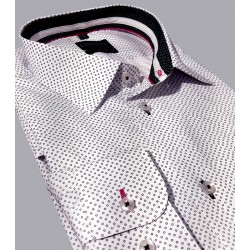 Koszula slim Comen długi rękaw biała w kwadraty r. 39 40 41 42 43 44