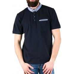 Granatowe polo męskie Pako Jeans TS Easy z kieszenią M L XL 2XL 3XL
