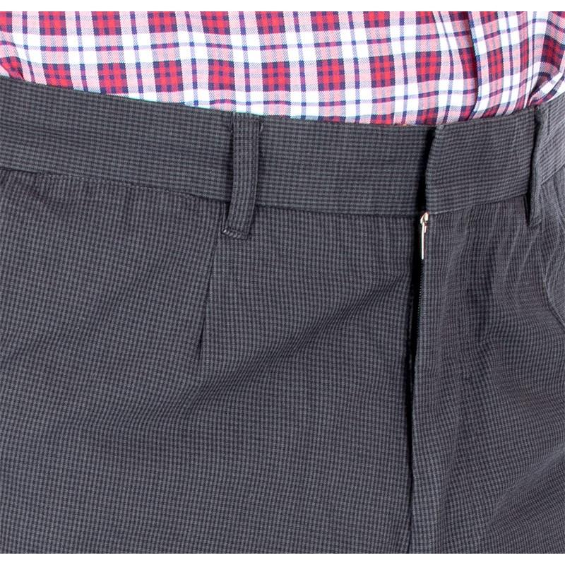 grafitowe proste spodnie Lord R-60 w krateczkę