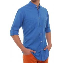 Koszula dł. rękaw regular Roy KS120 chabrowy-niebieski r. M L XL 2XL