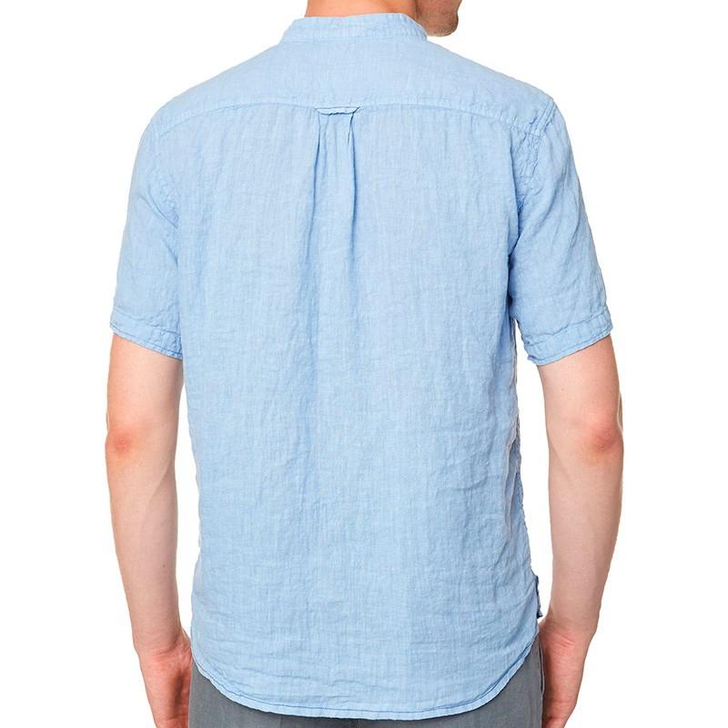 niebieska lniana koszula Roy krótki rękaw KS267 CEBU 03